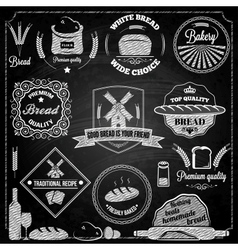 bread bakery set elements chalkboard vector image