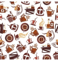 Brown coffee retro seamless pattern vector image