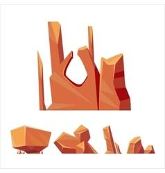 Brown Rock Elements Set vector