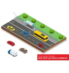 Bus stop Set of the isometric bus sedan taxi vector
