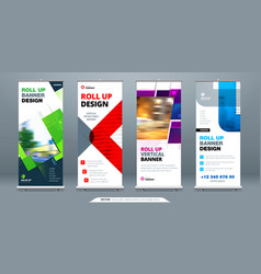 Business roll up banner stand abstract roll up vector