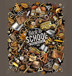 Cartoon doodles school bright vector