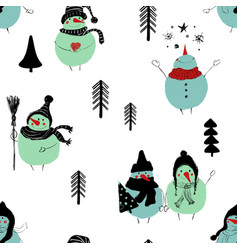 christmas seamless pattern snowmans vector image