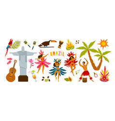 collection of brazilian carnival traditional vector image