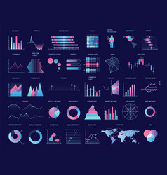 Collection of colorful charts diagrams graphs vector