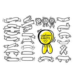 collection of ribbons drawing in cartoon style vector image