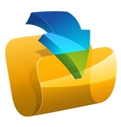 Computer folder with dowloading arrow vector