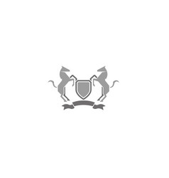 creative horses shield logo vector image