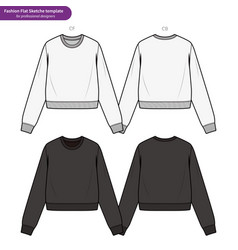 Crop top fashion flat technical drawing template vector