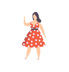 curvy overweight girl in red polka dot retro vector image