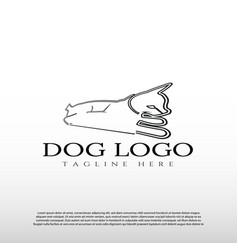 Dog logo with line art design animal and wildlife vector