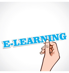 E-learning word in hand vector