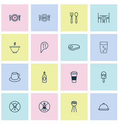 Eating icons set collection of fresh dining bowl vector