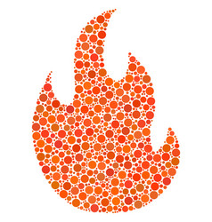 Fire flame collage of dots vector