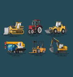 flat construction machines vector image