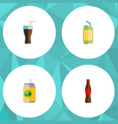 Flat icon beverage set of juice beverage fizzy vector