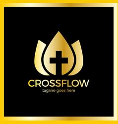 Flower cross logo - church vector