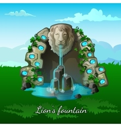 Fountain with a lion head on nature background vector image vector image