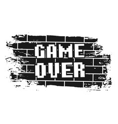 Game over pixel inscription on brick wall vector