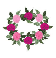 garland with flowers and leafs isolated icon vector image