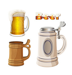 glass beer cup with foam ancient bavarian and vector image