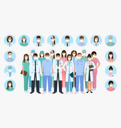 Group doctors and nurses characters in masks vector