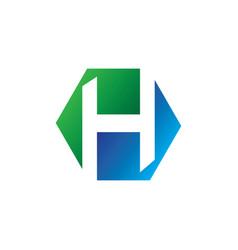 h alphabet symbol logo design hexagon vector image