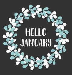 Hello january winter watercolor wreath card vector