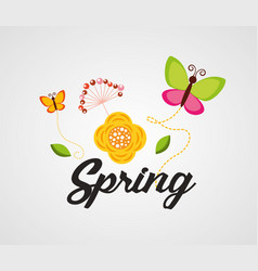 Hello spring poster with flowers and butterflies vector