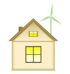 Home wind turbine renewable energy concept vector