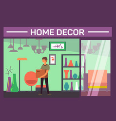 House decor shop with buyer and home accessories vector