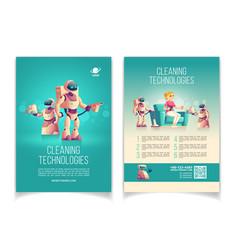 House robots technologies cartoon ad flyer vector