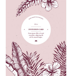 invitation card design with exotic plants hand vector image