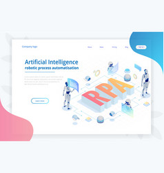 Isometric concept of rpa artificial intelligence vector