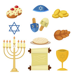 judaism church traditional symbols jewish hanukkah vector image