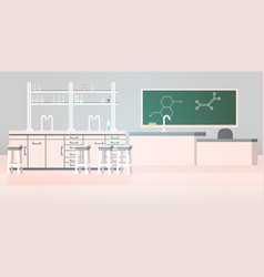 Laboratory chemical in science classroom interior vector