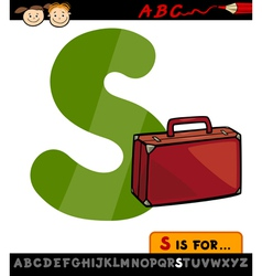 letter s with suitcase cartoon vector image