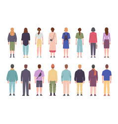 Men and women in different clothes standing with vector
