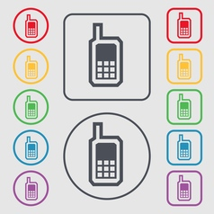 Mobile phone icon sign symbol on the Round and vector image