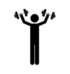monochrome pictogram of man with dumbbell vector image