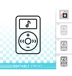 mp3 player simple black line icon vector image