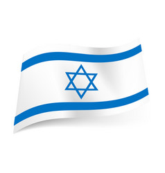 National flag of israel blue hexagram between two vector