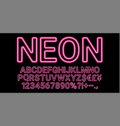 neon font in pink color vector image