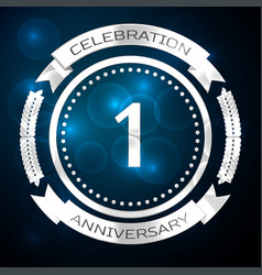 one years anniversary celebration with silver ring vector image