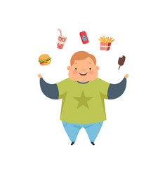 Overweight boy juggling fast food dishes cute vector