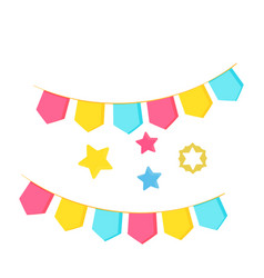 party flags carnival garlands stars isolated on vector image