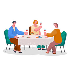 people eat and drink together home reception vector image