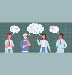 people study math scientists on blackboard vector image