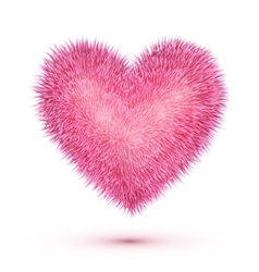 Pink fluffy isolated heart vector