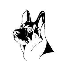 Portrait German Shepherd dog - black and white vector